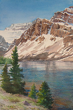 Bow Lake, Alberta: Watercolour by Debbie Homewood
