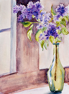 Lilacs: watercolor painting by debbie homewood