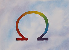 Omega ancient symbol: Watercolour by Debbie Homewood