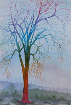 Surreal Rainbow Tree: Watercolour by Debbie Homewood